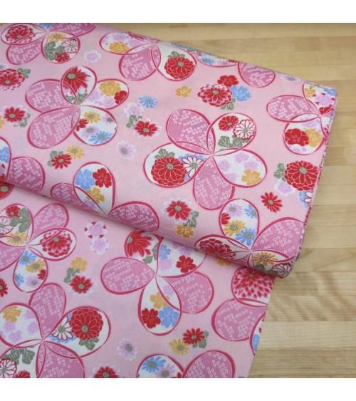 "Japanese amundsen cotton fabric ""Ume"" in pink"