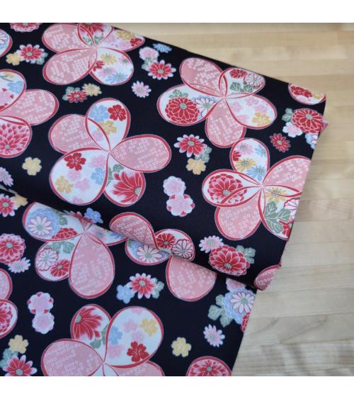 "Japanese amundsen cotton fabric ""Ume"" in black"