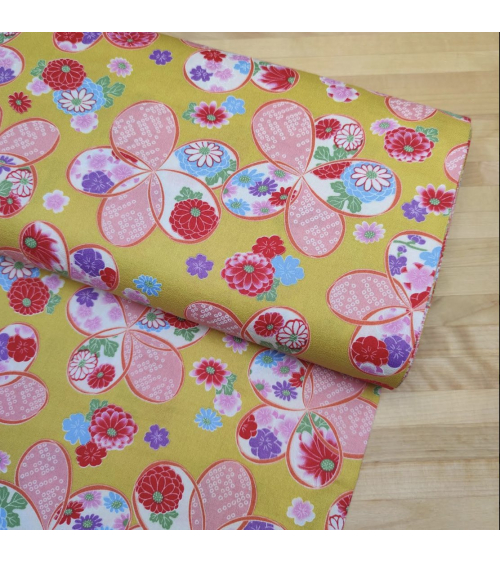 "Japanese amundsen cotton fabric ""Ume"" in Yellow"