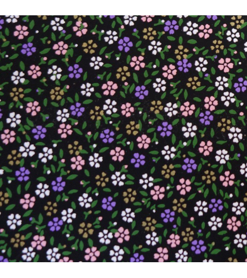 Papel japonés chiyogami alegres florecillas sobre fondo negro