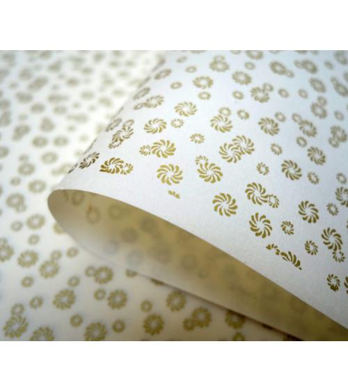 Papel japonés chiyogami pequeñas flores doradas sobre fondo blanco