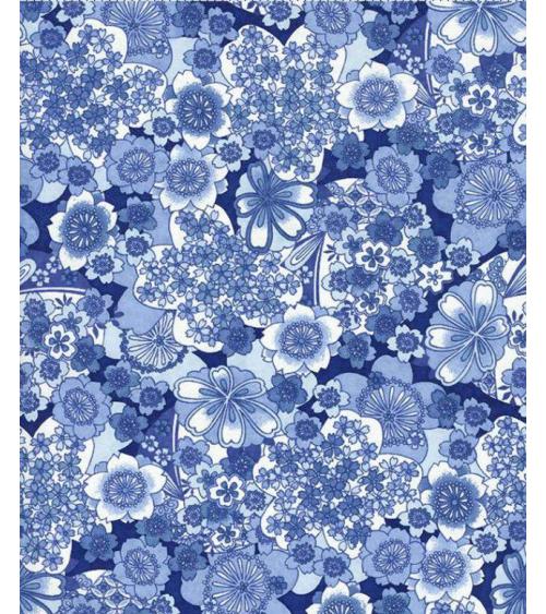 Papel Chiyogami flores en tonos azules.