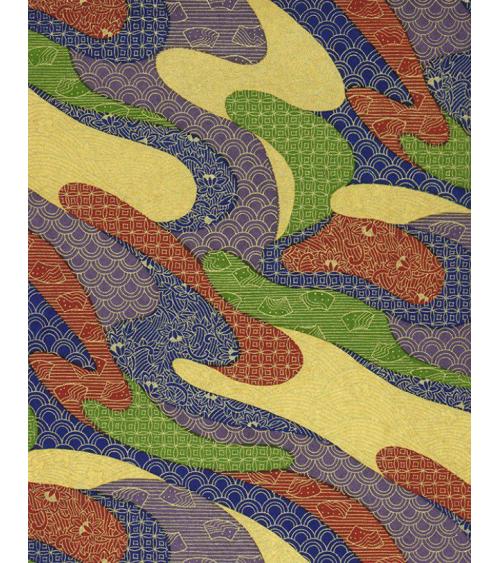 Papel Chiyogami motivos tradicionales sobre fondo azul.