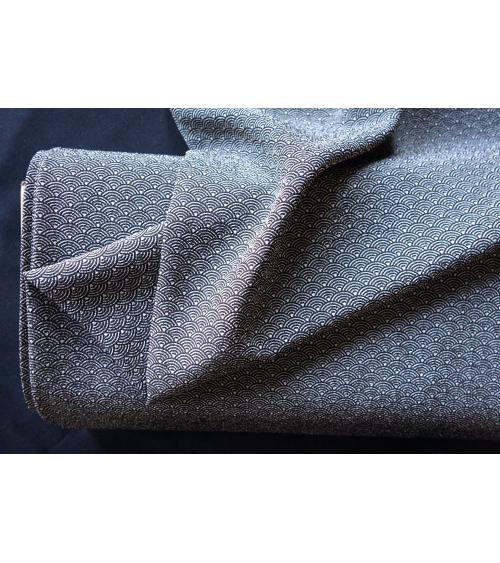 Tela crepe japonés de seigaha en gris