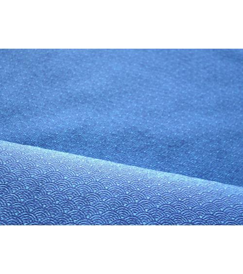 Tela crepé japonés de seigaha en azul