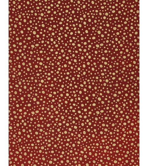 Papel Chiogami puntos dorados sobre fondo rojo.