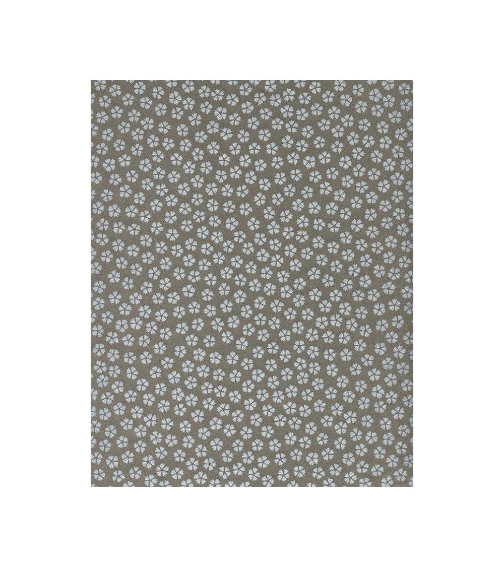 Papel Chiyogami pequeñas sakuras plateadas sobre fondo gris.