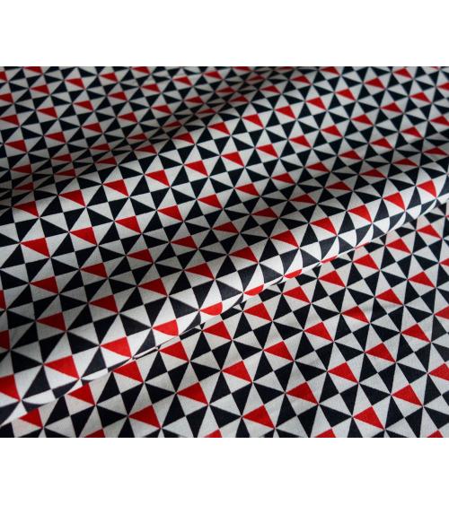 Tela japonesa. Shuriken tonos rojo y negro