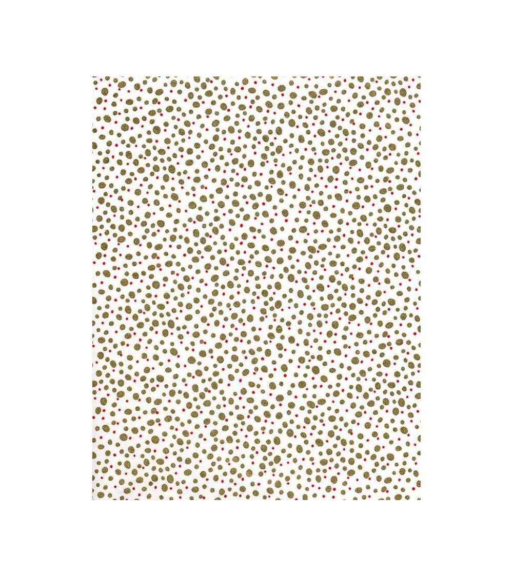 Papel Chiyogami puntos dorados y rojos sobre fondo blanco.