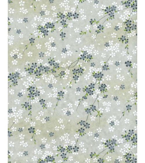 Papel Chiyogami pequeñas sakuras blancas y grises sobre fondo gris.