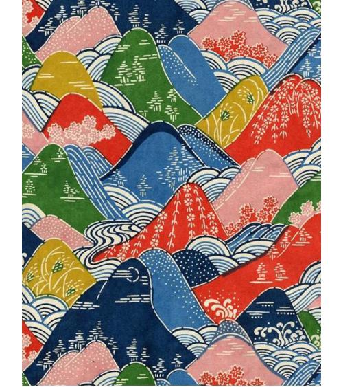 Papel Katazome montañas multicolores.