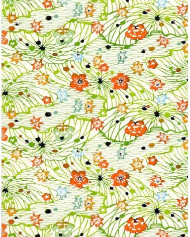 Papel Katazome flores y hojas sobre fondo en verdes.