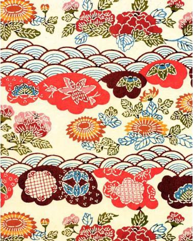 Papel Katazome en motivos vegetales y ondas.