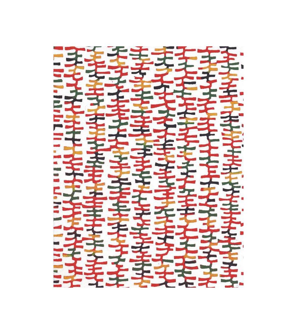 Papel Katazome con motivos gráficos en rojo
