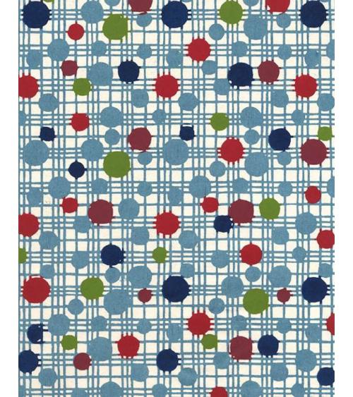 Papel Katazome con círculos sobre trama azul