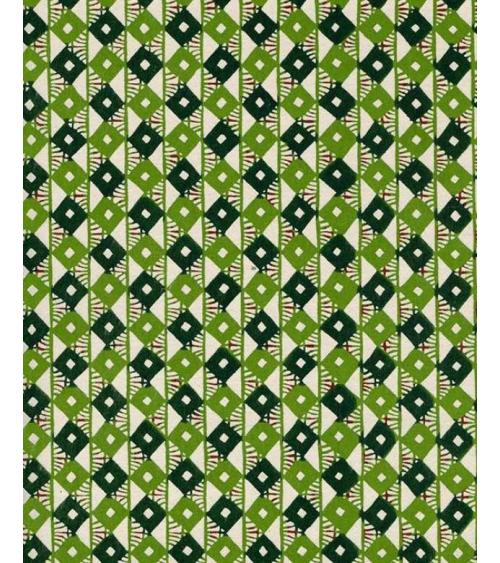 Papel Katazome con rombos en tonos verdes